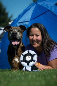 Dana Gallagher with Chester - Top Contender in Dog Agility